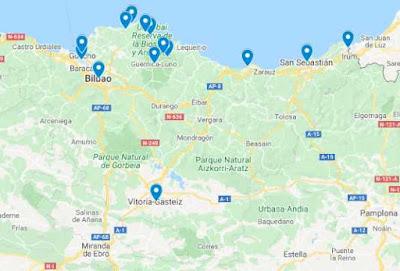 mapa con las visitas del viaje al País Vasco