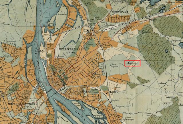Пурвциемс на плане риги 1916 года