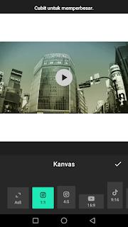 Cara edit video mengubah kanvas video menggunakan aplikasi Inshot di Android