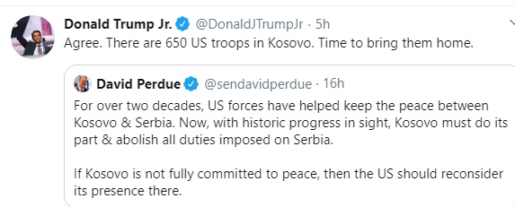 Richard Grenell warns the withdrawal of US troops from Kosovo, Trump Junior agrees