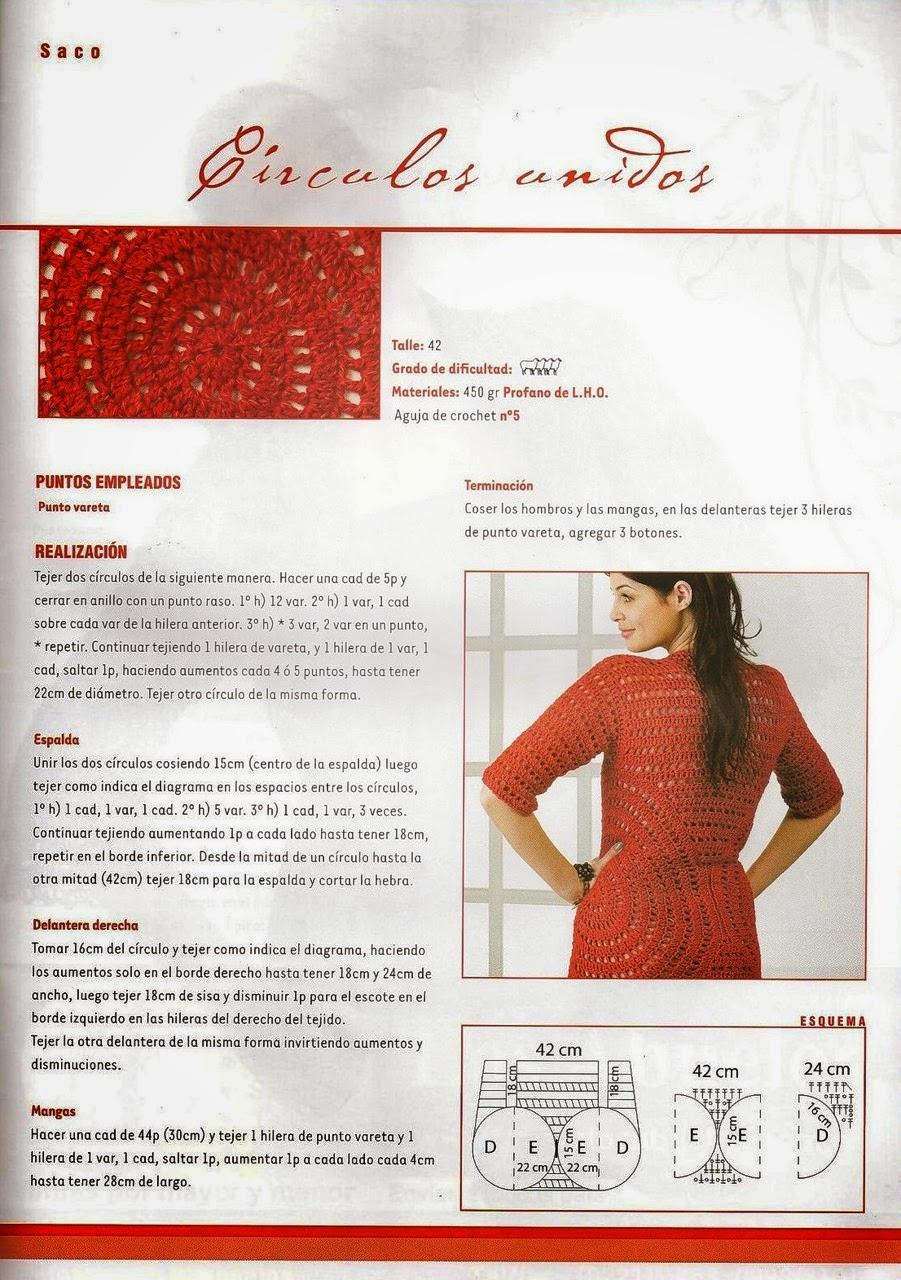 Saco de círculos unidos al crochet - patrones en español | Crochet y ...