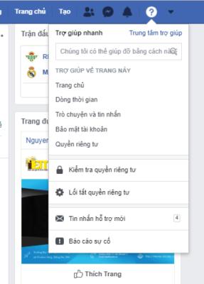 Trợ giúp nhanh của Facebook