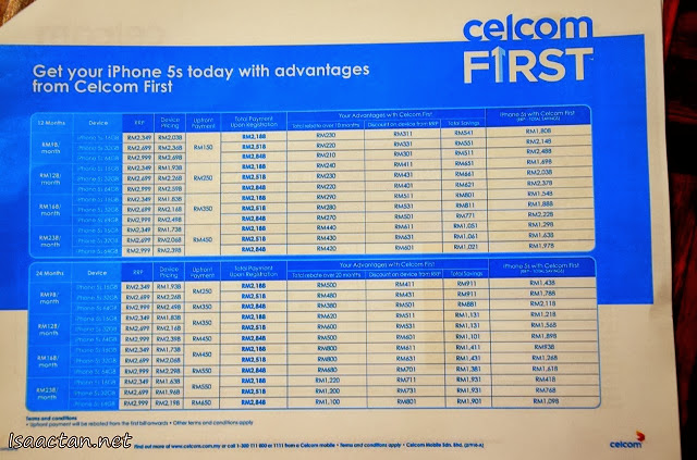 A quick shot of the pricing for iPhone5S with Celcom plans, more details at the official Celcom website