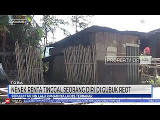 seorang nenek berusia 83 tahun harus tinggal seorang diri Di Dalam Gubuk reot di desa sitoluama,Kecamatan Laguboti Kabupaten Toba.