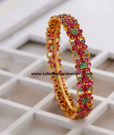Colorful Ruby Emerald Gold Bangle