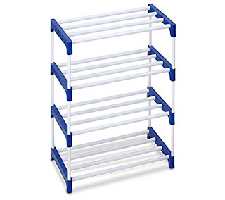 Shoe Rack Metal and Plastic Blue,Ebee Steel Coated Shoe Rack (6 Shelves),Novatic Heavy Duty Metal, Plastic Foldable Shoe Stand (3 Shelves),