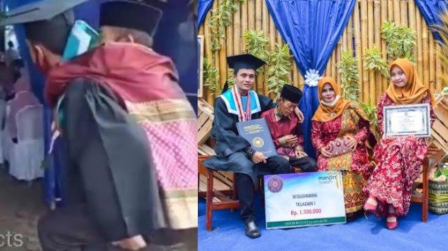 VIRAL Wisuda Gendong Ayah, Jefri Ternyata Lulusan Terbaik Universitas Muhammadiyah Kotabumi Lampung