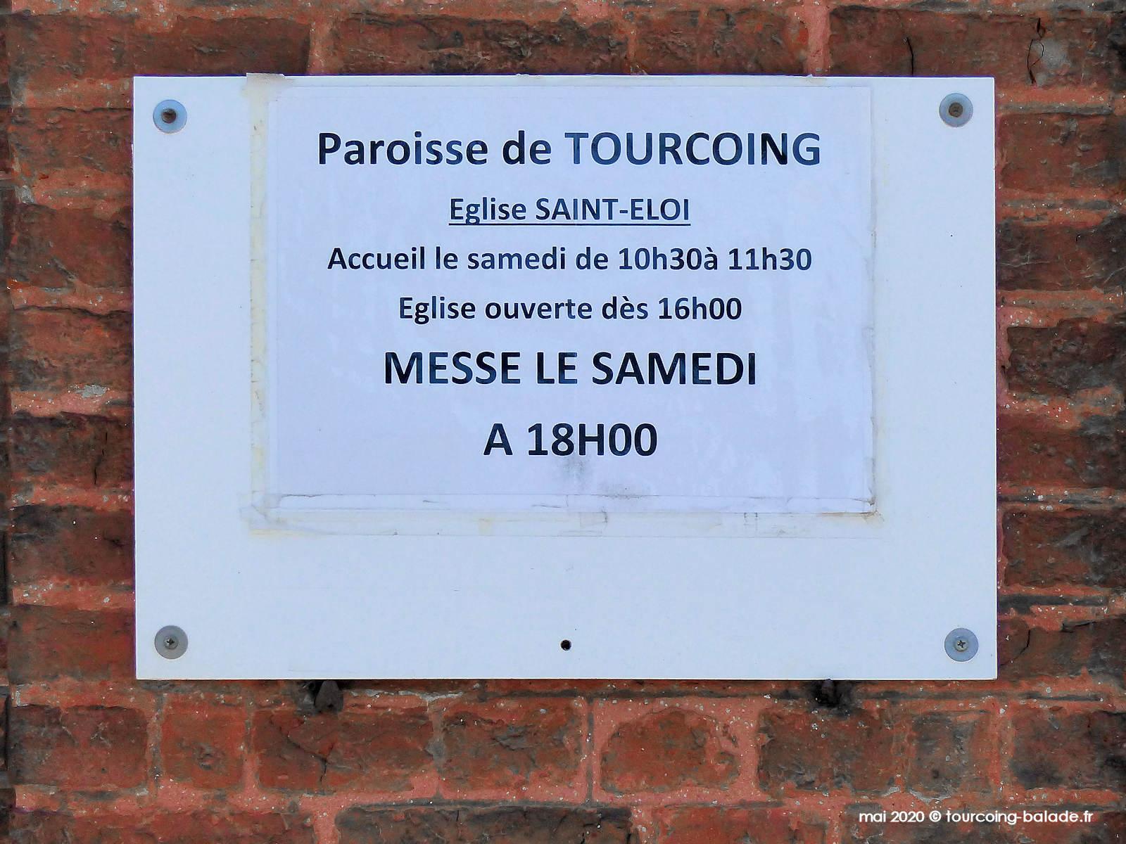 Horaires des messes : Église Saint-Éloi, Tourcoing, 2020