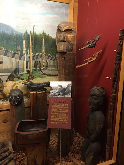 Incredible exhibit of wood artifact carved by Native American tribes of the Pacific Northwest.