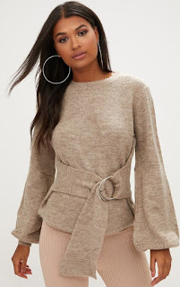 Pretty Little Thing Stone statement jumper