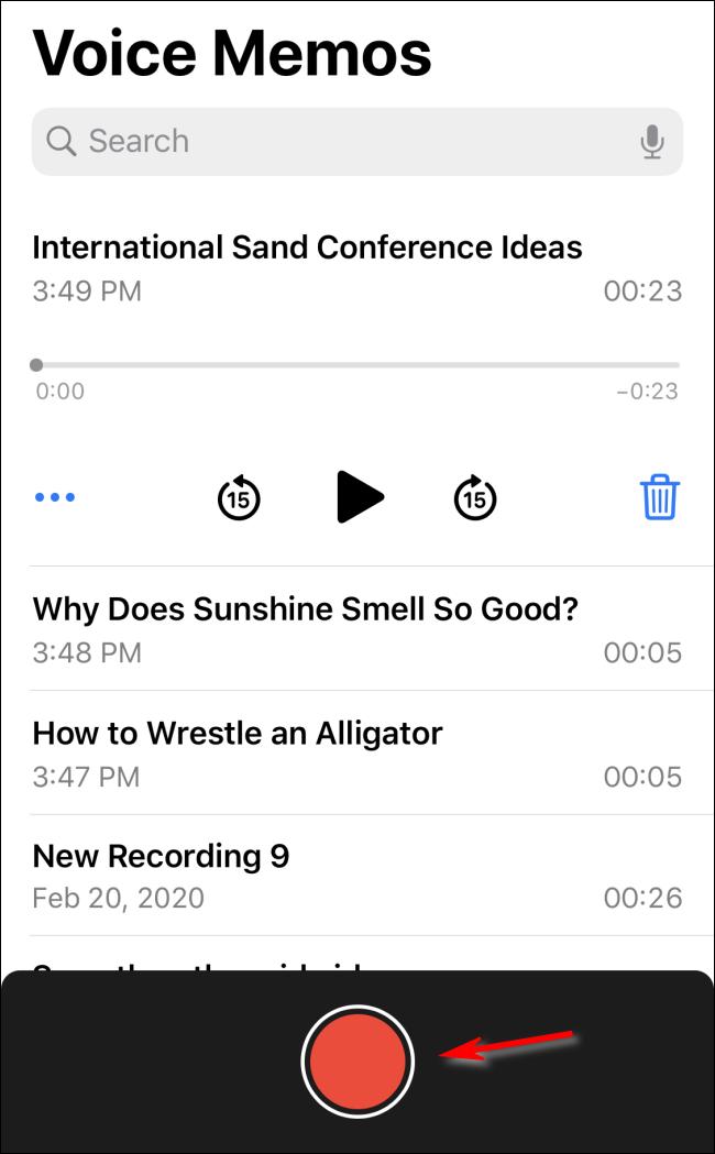 تسجيل مذكرة صوتية في iOS