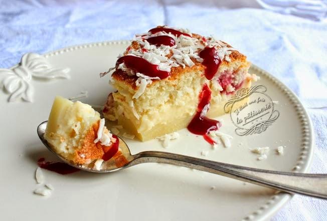 Gâteau magique framboise coco