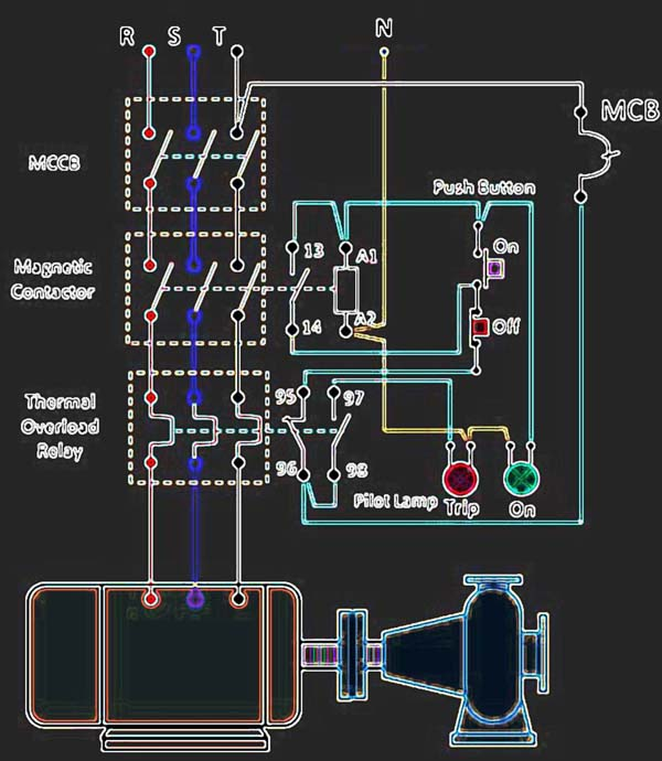 electric pump auto-manual wiring diagrams (3-phase motors) - my electrical  diary  my electrical diary - blogger