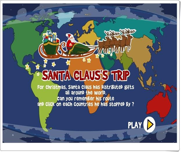 """""""El viaje de Santa Claus"""" (Juego de Geografía Universal de Primaria)"""