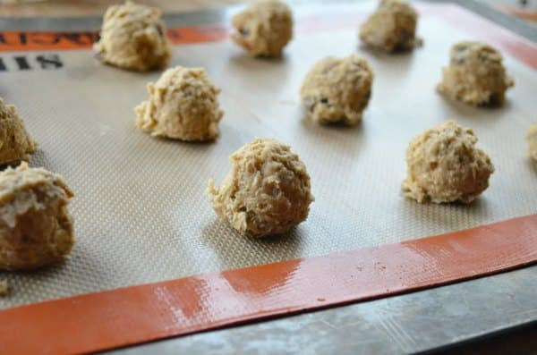 Chewy Spiced Oatmeal Raisin Cookie Dough dropped on Silpat Cookie Sheet.