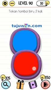 Jawaban level 90 Tekan tombol biru 6 kali Brain test