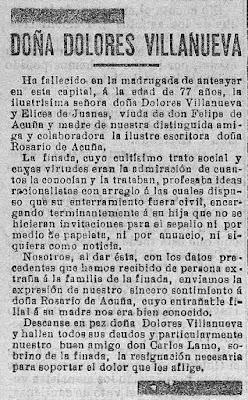 Reseña necrológica publicada en El Cantábrico el 21 de julio de 1905