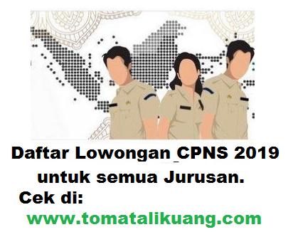 lowongan formasi cpns 2019  S1 Hukum; tomatalikuang.com