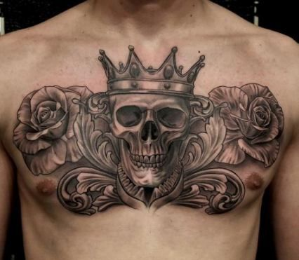 Skull tattoo on men chest