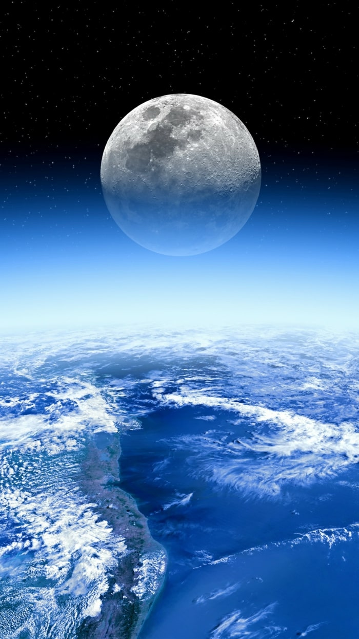 wallpaper iPhone, sfondi per smartphone, spazio, stelle, luna, pianeta terra