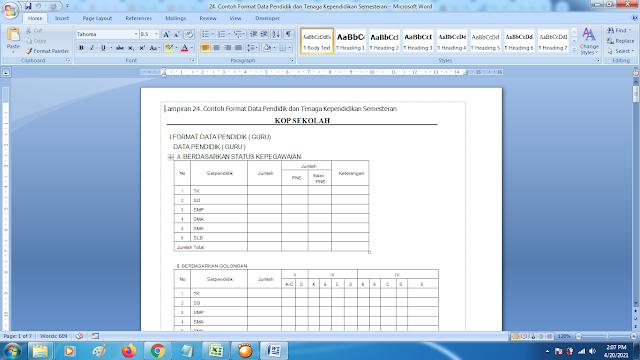 Contoh Format Data Pendidik dan Tenaga Kependidikan Semesteran