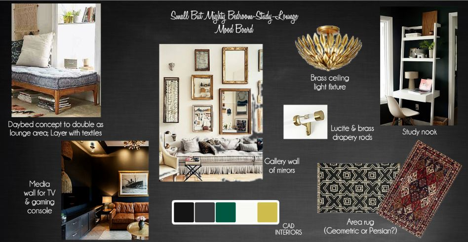 CAD INTERIORS bedroom makeover one room challenge interior design decorating home improvement black brass gold dark walls design board