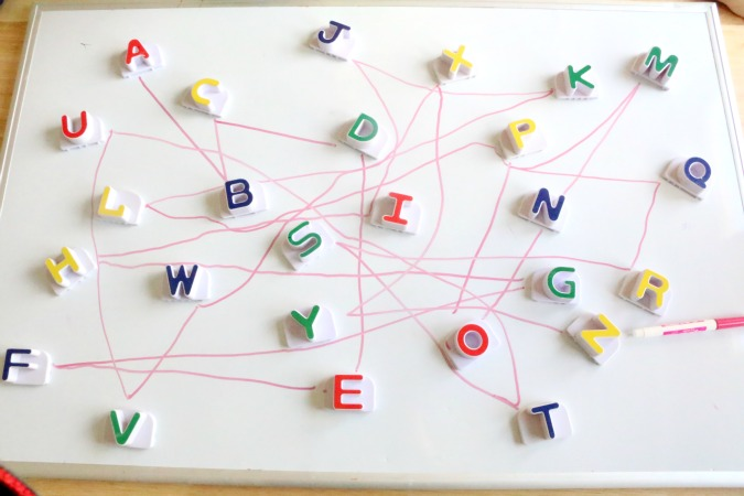 magnetic letters Dot to Dot activity