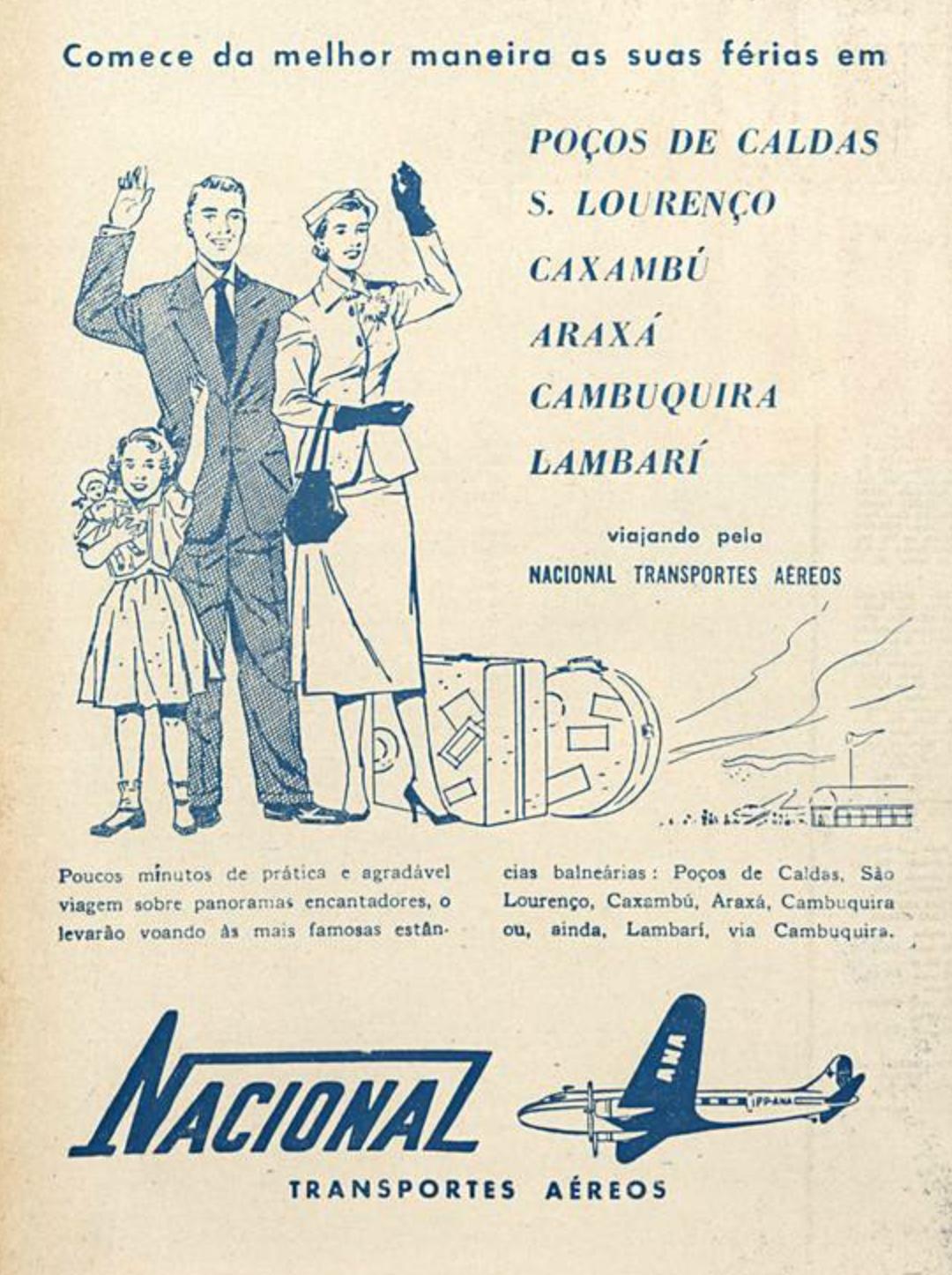 Propaganda antiga da Nacional Transportes Aéreos em 1954