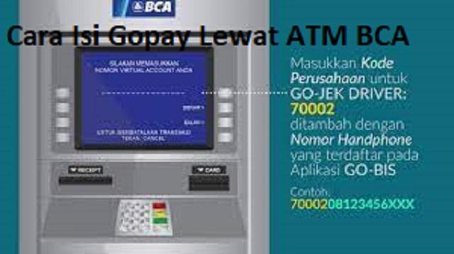 Cara Isi Gopay Lewat ATM BCA