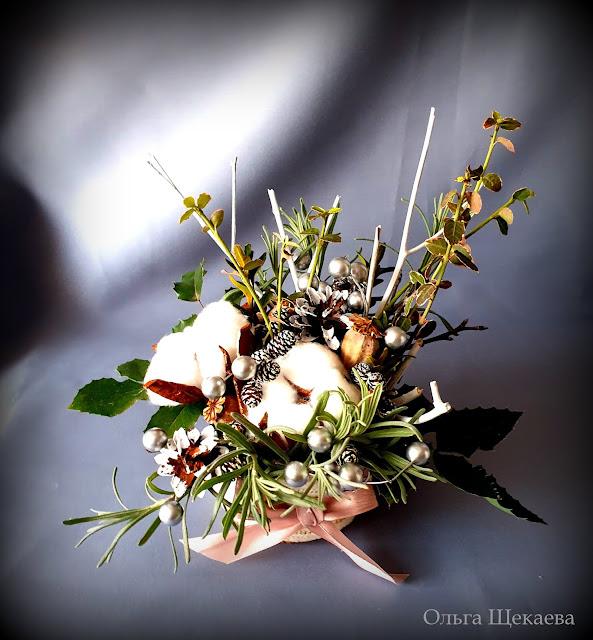 икебана, новогодняя, цветыхлопка, букет,