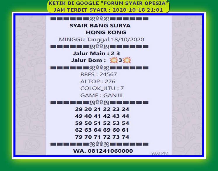 Kode syair Hongkong Minggu 18 Oktober 2020 38
