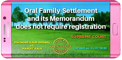 Oral family-settlement and its memorandum does not require registration