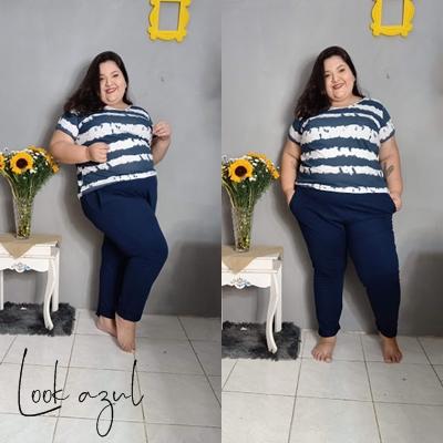 Calça jogging azul marinho plus size e blusa listrada marguerite posthaus