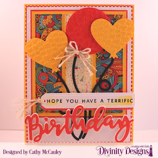 Divinity Designs Stamp/Die Duos: Birthday, Paper Collections: Birthday Bash, Birthday Brights, Custom Dies: Pierced Rectangles, Tri-Shutter Layers, Birthday Balloons, Treat Tags