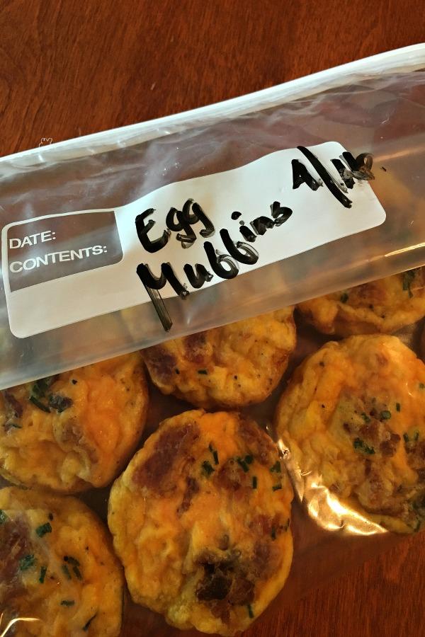 Frozen breakfast muffins in freezer safe bags.