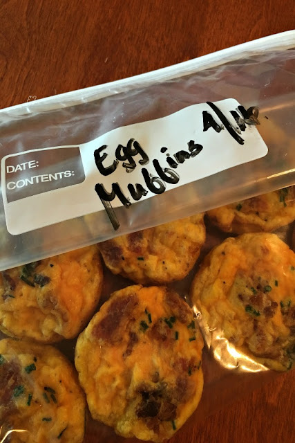Frozen breakfast muffins in freezer safe bags.
