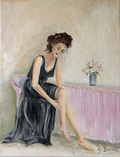 lady in black gown oil painting by J Beaudet Studios