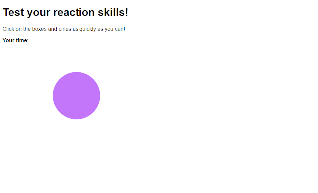 javascript project in web development, reaction game using javascript