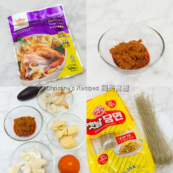 Tom Yam Noodle Soup Ingredients