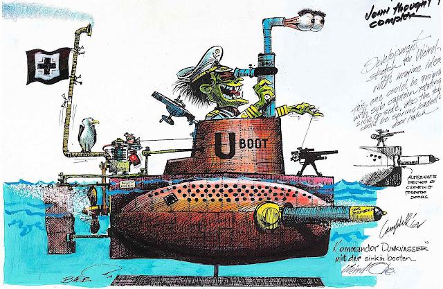 a Bill Campbell illustration of a crazy submarine captain