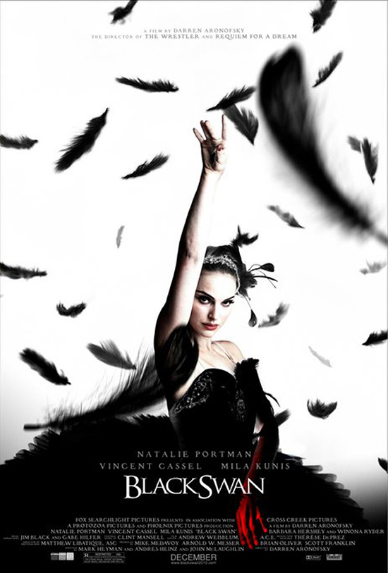 Poster of Natalie Portman in tiara and black dress, one arm raised high and the other below her bathed in deep red behind the movie title but over the small print at bottom