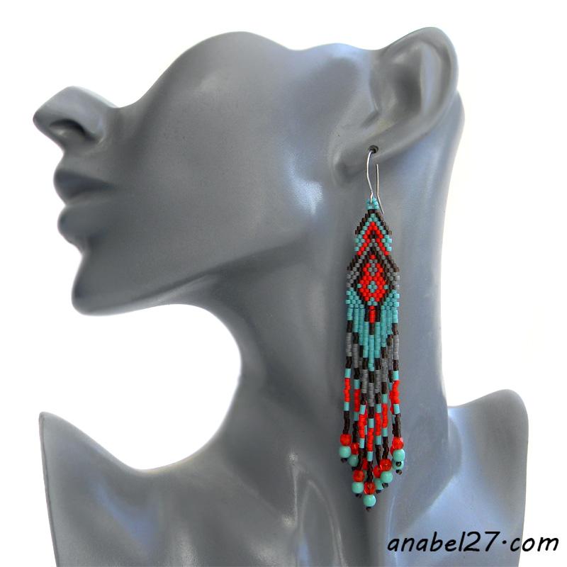 Серьги из бисера - алые с бирюзовым - beaded earrings