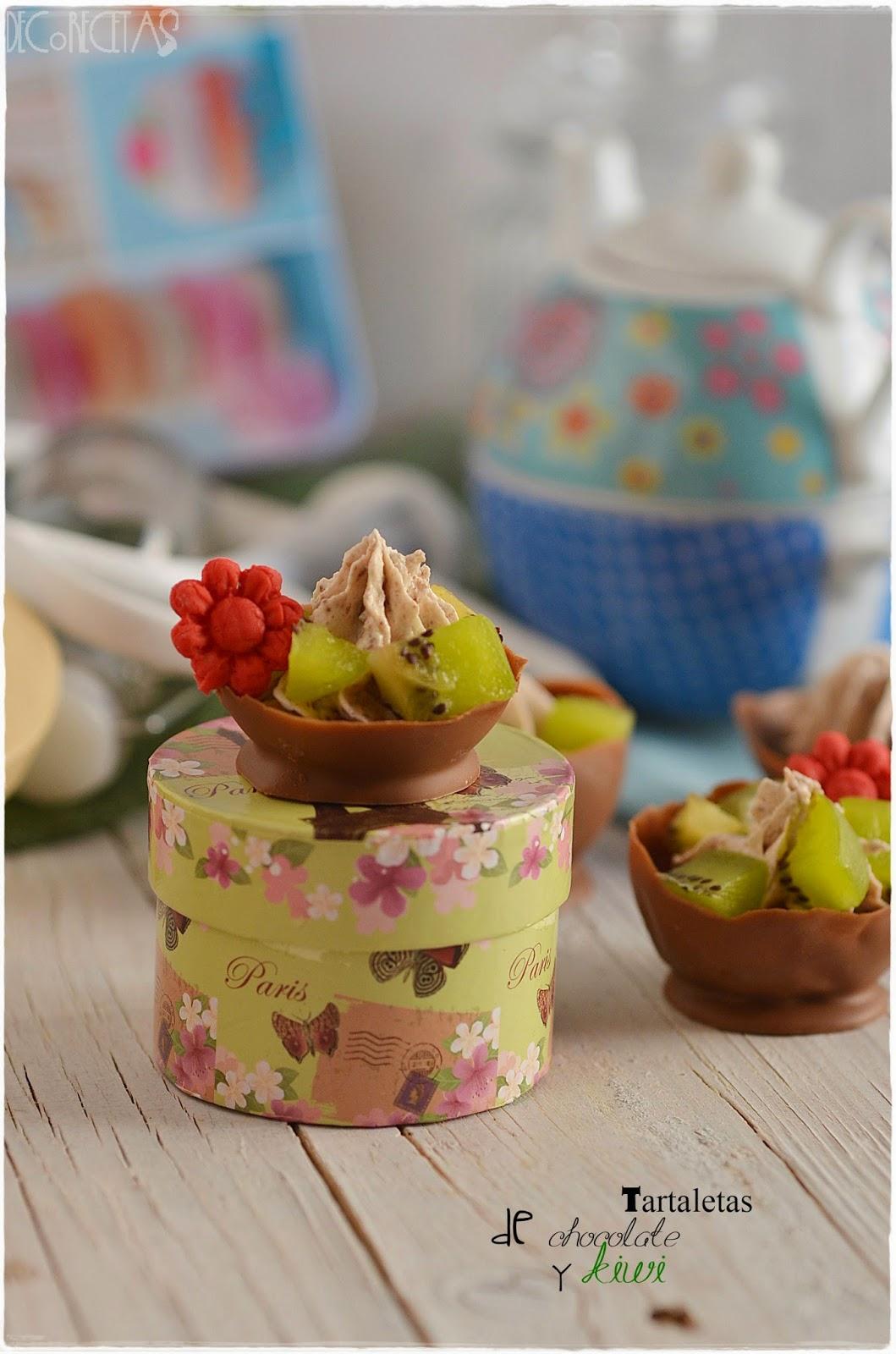 Tartaletas de chocolate y kiwi