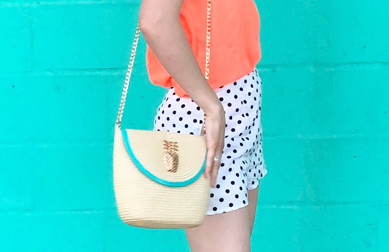 Clearwater Florida fashion blogger polka dot shorts vacation outfit pineapple purse