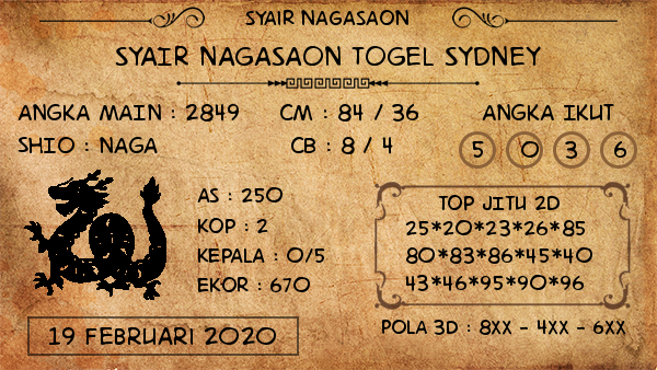 Prediksi Togel JP Sidney 19 Februari 2020 - Prediksi Nagasaon