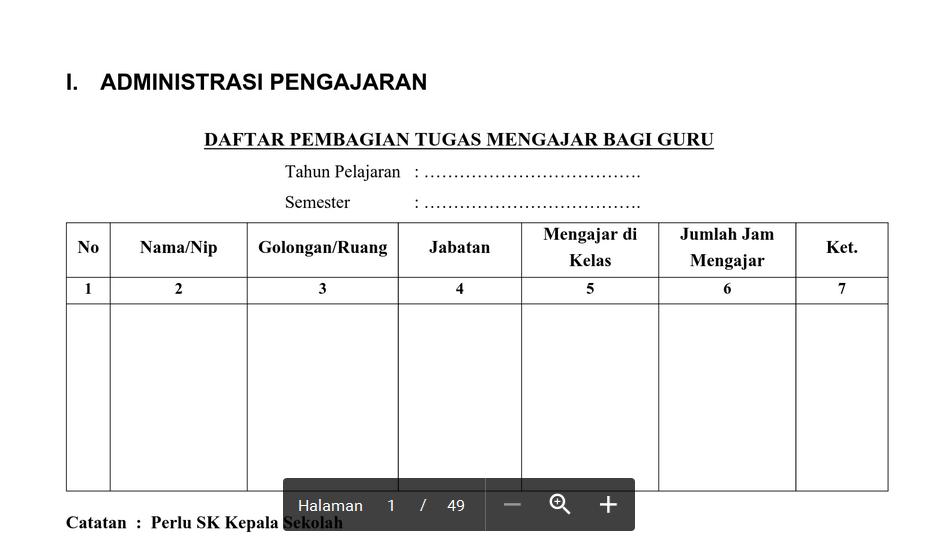Contoh Format Administrasi Kepala Sekolah Lengkap File Word Excel Galeriguru