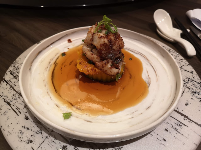 Steamed Eel with Pumpkin in Homemade Soya Bean Crumb with Dried Scallop, Sakura Shrimps and Prawn Roe Sauc