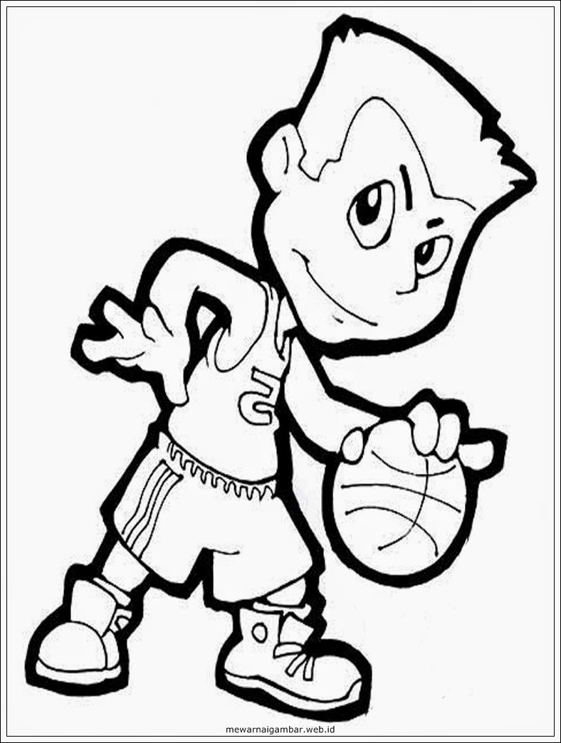 gambar mewarnai profesi pemain bola basket gambar sketsa kartun basket