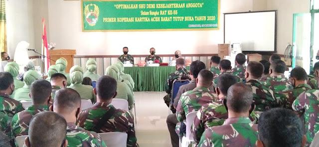 Dandim Aceh Barat Didampingi Kadis Perindag, Koperasi Dan UKM Buka RAT Tutup Buku Primer Koperasi Kartika
