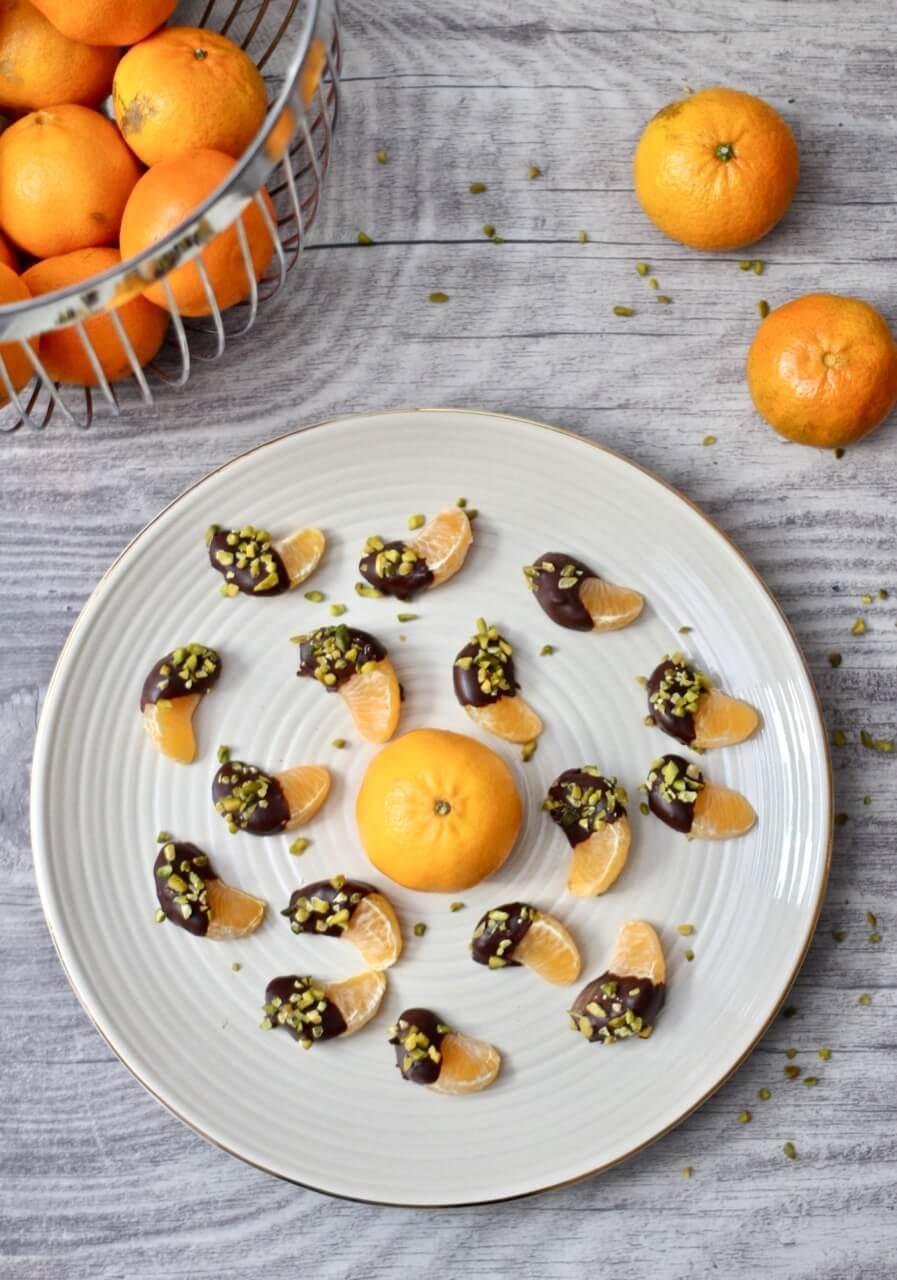Mandarinen im Schokohemd Rezept